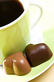 chocolate hearts and coffee cup