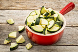 diced zucchini in stoneware pot
