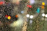 Looking Through The Bokeh Raindrops Glass