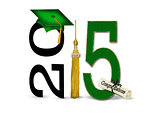 green graduation cap  for 2015