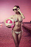 fashion girl with beach ball