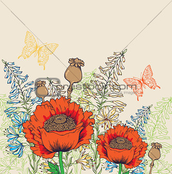 Background with red poppies