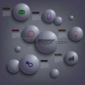 Abstract info graphic colored round element template