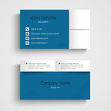 Modern sample blue business card template
