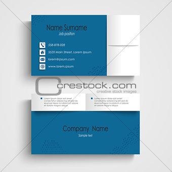Modern sample blue business card template