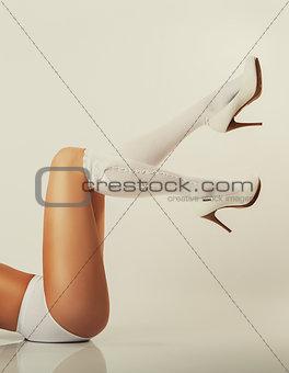 girl long legs, white high heels