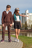 Young fashion Hipster couple in love