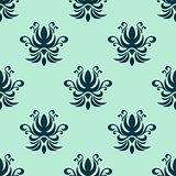 Cyan floral seamless pattern