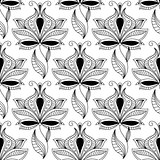 Persian black paisley seamless pattern