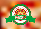Pizza banner on color background