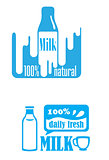 Fresh dairy and 100 percent natural milk labels