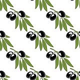 Seamless pattern of a leafy olive branch