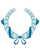 Blue color foliate circular wreath