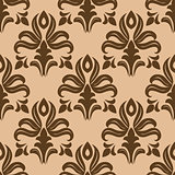 Modern foliate brown and beige arabesque pattern