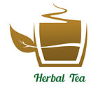 Steaming cup of herbal tea icon or label