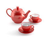 red cups and teapot