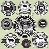 vector set of labels with Sheep and lamb