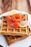 Potato waffles with salted salmon