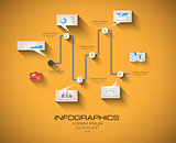 Modern Infographic template with Flat UI style
