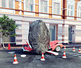 meteorite destroy parked car