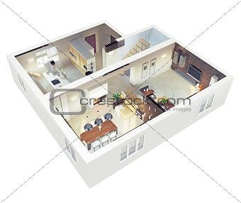 Plan view of an apartmen