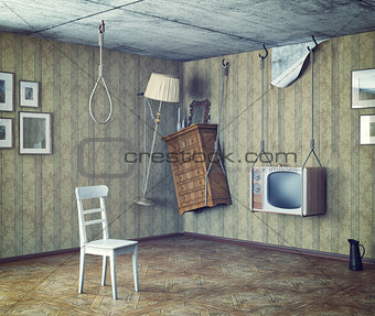 old furniture in grungy interior