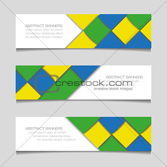 Abstract geometric banners in Brazil flag colors. Vector illustration.