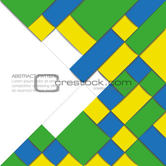 Abstract geometric background in Brazil flag colors. Vector illustration.