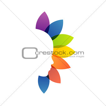 A lady's face with colorful leaves- logo for ladies services