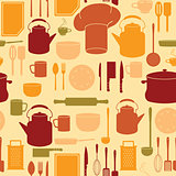 Kitchen Utensils in Seamless Background
