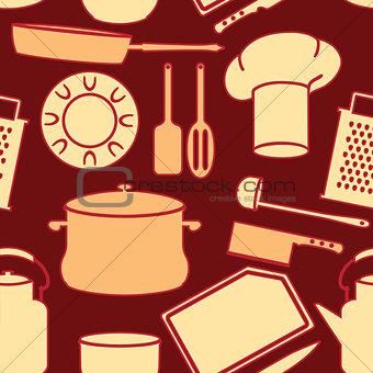 Kitchen Utensils in Seamless Background