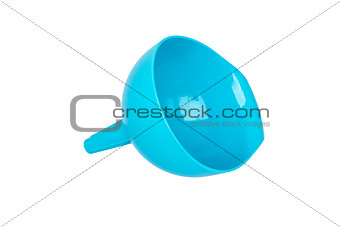One blue funnel isolated on white