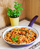 Bucatini Pomodoro with seasonal vegetables
