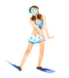 happy young woman make a funny pose with a scuba equipment