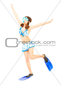 cute young woman make a pose with a scuba equipment