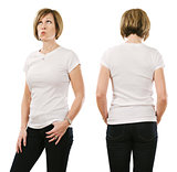 Woman in her forties posing with blank white shirt