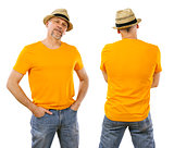Man in his forties wearing blank orange shirt