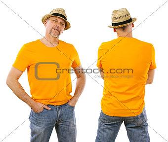 Man in his forties wearing blank orange shirt
