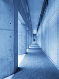 Outdoor hallway in blue