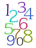 Multicolor numbers on a white background