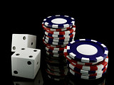 casino chips and dice
