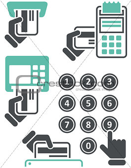ATM keypad and POS-Terminal - simple icons of hand with credit card