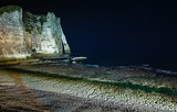 Natural cliff in Etretat, France. Night scene.