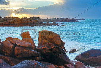 Ploumanach coast sunset view (Brittany, France)