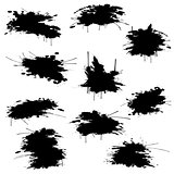 Black ink blots set
