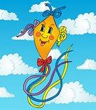 Orange kite on sky