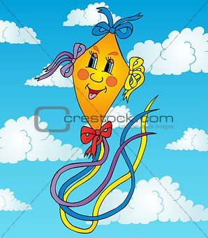 Orange kite on sky