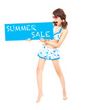 bikini girl holding a sign of  summer sale