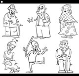 seniors set cartoon coloring book