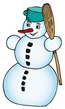 Snowman with broomstick